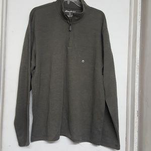 New Eddie Bauer Quarter Zip Sweater Greenish Gray